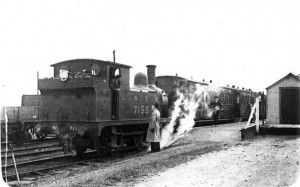A train waiting to depart Laxfield during the 'Middy's' LNER days