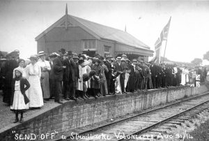 A crowd prepares to give a 'Middy' train an extravagant send-off